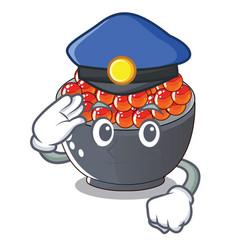 Police roe salmon in a cartoon bowl vector