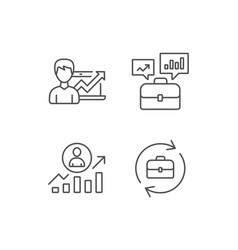 Portfolio case business results and hr icons vector
