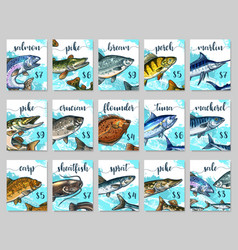 Price cards sketch set for fish shop market vector