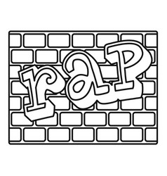 Rap bricks wall icon outline style vector