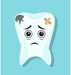 sad and bad tooth vector image