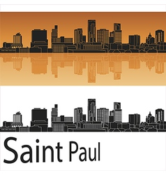 Saint Paul skyline in orange background in vector