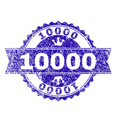 Scratched textured 10000 stamp seal with ribbon vector