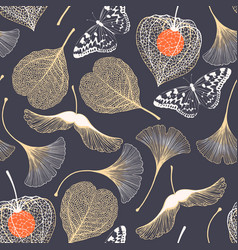 seamless floral pattern with ginkgo biloba leaves vector image