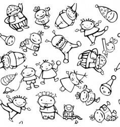 seamless pattern of fun kids vector image