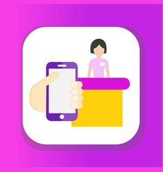seller cash desk payment phone icon flat style vector image
