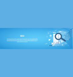 Seo optimization concept horizontal web banner vector