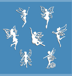 Set fairy silhouette vector