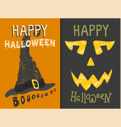 set happy halloween greeting card vector image