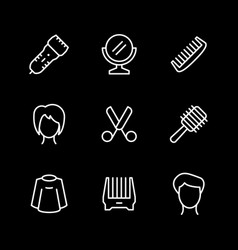 set line icons hairdressing vector image