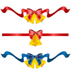 set of three festive bells vector image