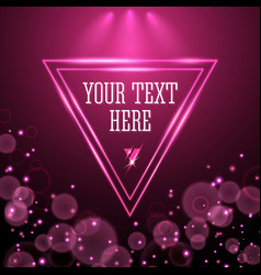 shining pink neon light triangle frame design vector image