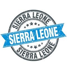 Sierra Leone blue round grunge vintage ribbon vector