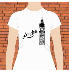 Simple London Shirt with Big Ben Tower Design vector
