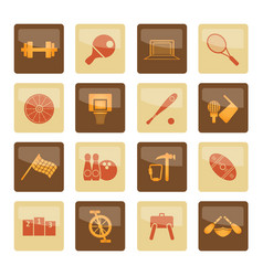 Sports gear and tools icons over brown background vector
