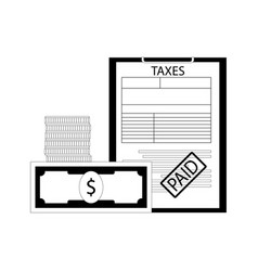 taxes paid line art concept vector image