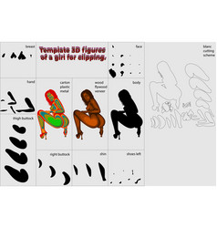 Template 3d figures a girl for clipping vector