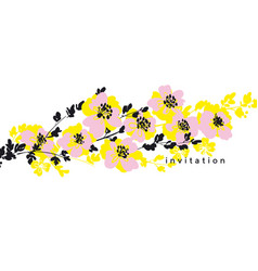 Tender modern rosy and yellow abstract flower vector