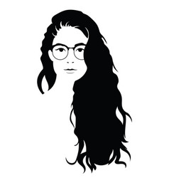The head of a beautiful girl with glasses face of vector