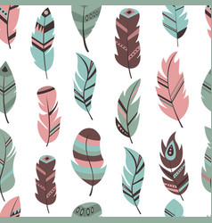 Tribal feather seamless pattern background bird vector