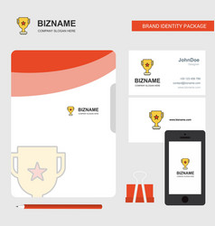 trophy business logo file cover visiting card and vector image