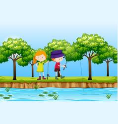 Two children fishing lake scene vector