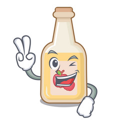two finger apple cider isolated with mascot vector image