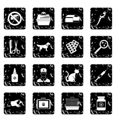 Veterinary set icons grunge style vector