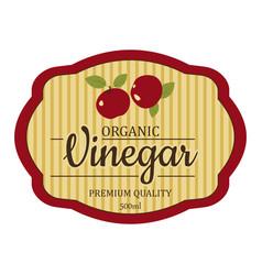 Vintage apple cider vinegar label frame design vector