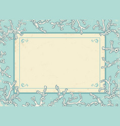 vintage card with white corals vector image