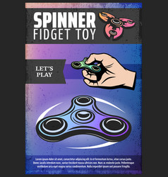 Vintage colored modern spinner poster vector