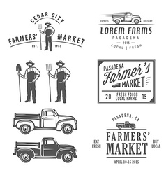 Vintage farming labels badges and design elements vector image