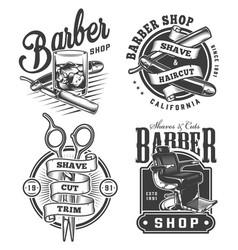 vintage monochrome barbershop logos set vector image