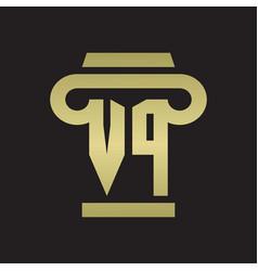 Vp logo monogram with pillar style design vector