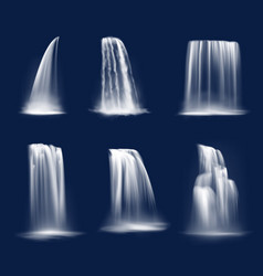 Waterfall cascade realistic water fall streams set vector