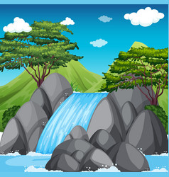 Waterfall scene with big mountains in background vector