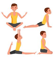 yoga man poses set girl yoga exercise vector image
