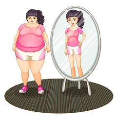 A fat girl and her slim version in the mirror vector image vector image