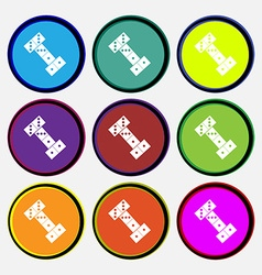 Domino icon sign nine multi colored round buttons vector