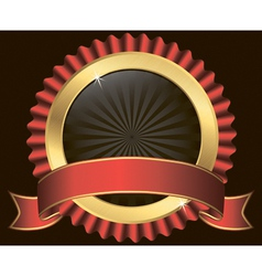 Golden label with red ribbon vector image