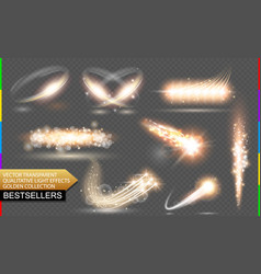 isolated golden flare transparent light vector image vector image