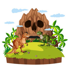 Scene with two dinosaurs vector