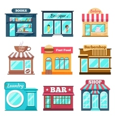 Shops and stores icons set in flat design style vector image vector image