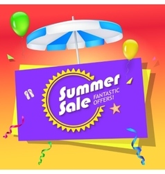 Summer sale banner with umbrella vector image