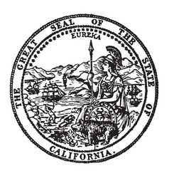 the great seal of the state of california vintage vector image vector image