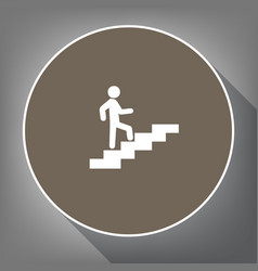 man on stairs going up white icon on vector image