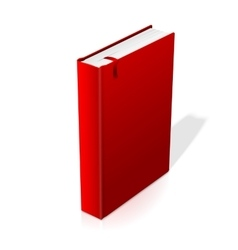 Realistic standing red blank hardcover book with vector image vector image