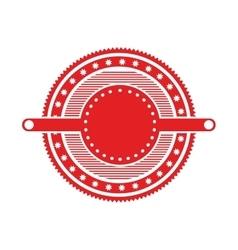 Red circular art deco emblem with stars vector