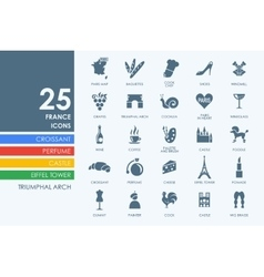 Set of France icons vector image vector image