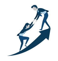 successful business couple with arrow up vector image vector image